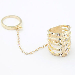 Jewelry - Double Ring Gold Austrian Crystals